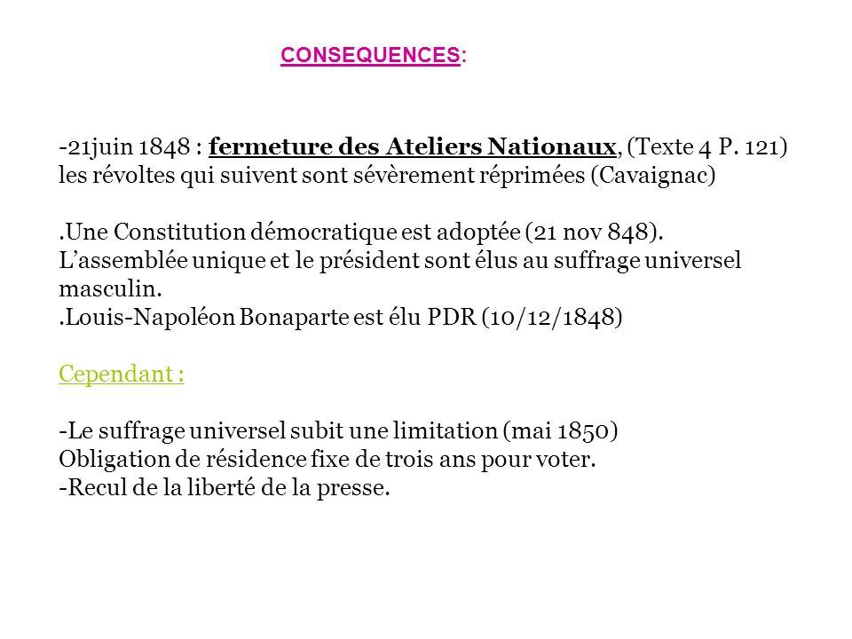 -21juin 1848 : fermeture des Ateliers Nationaux, (Texte 4 P. 121) les révoltes qui suivent sont sévèrement réprimées (Cavaignac).Une Constitution démo