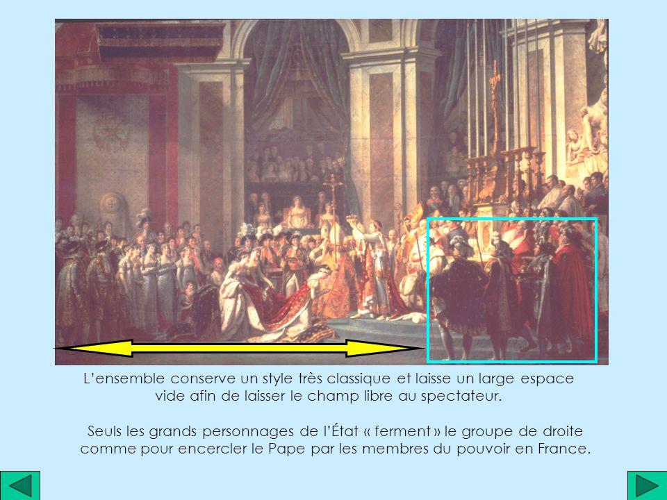 Les lignes verticales rendent lensemble encore plus majestueux, dans la continuité des bras de Napoléon… …bras qui sinscrivent dans une construction géométrique qui concentre le regard du spectateur sur la croix, Joséphine et lempereur.