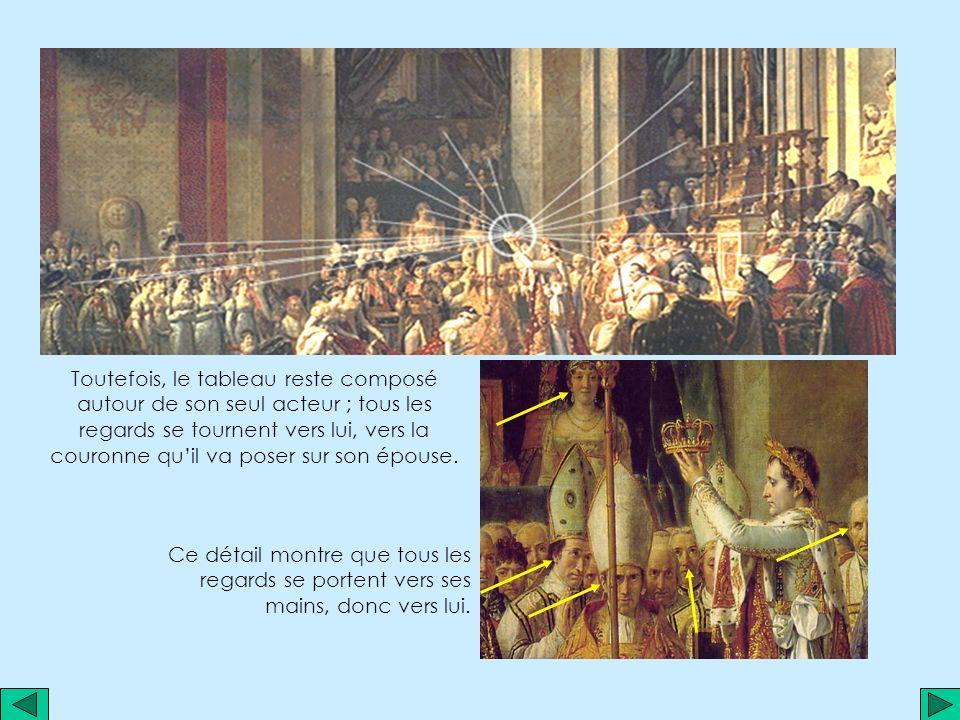 Notons d abord que le titre ne correspond pas à la scène; en effet, on assiste non pas au couronnement de Napoléon mais de sa femme Joséphine .