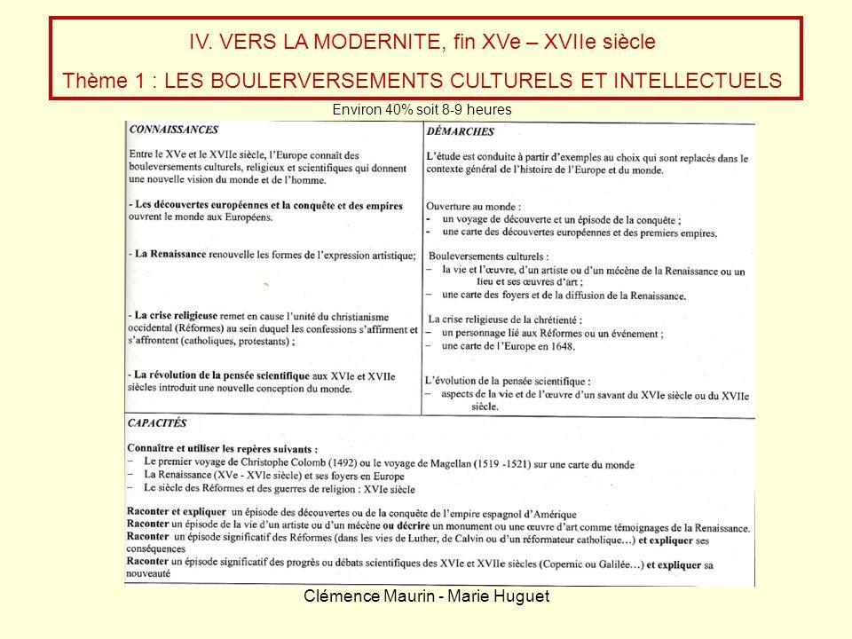 Clémence Maurin - Marie Huguet IV. VERS LA MODERNITE, fin XVe – XVIIe siècle Thème 1 : LES BOULERVERSEMENTS CULTURELS ET INTELLECTUELS Environ 40% soi