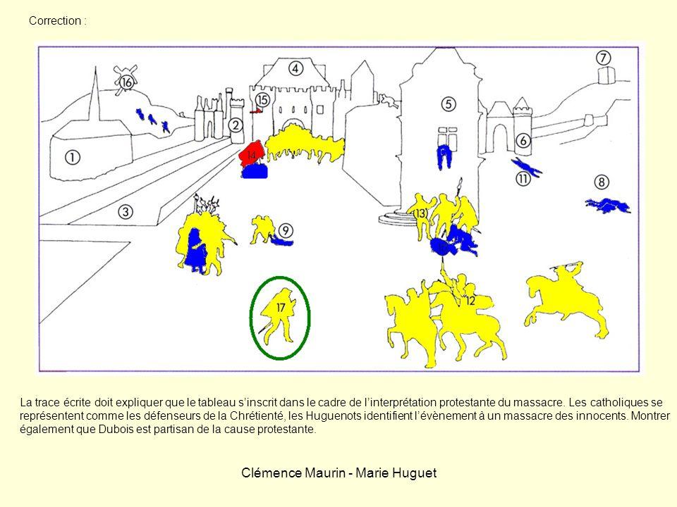 Clémence Maurin - Marie Huguet Correction : La trace écrite doit expliquer que le tableau sinscrit dans le cadre de linterprétation protestante du mas