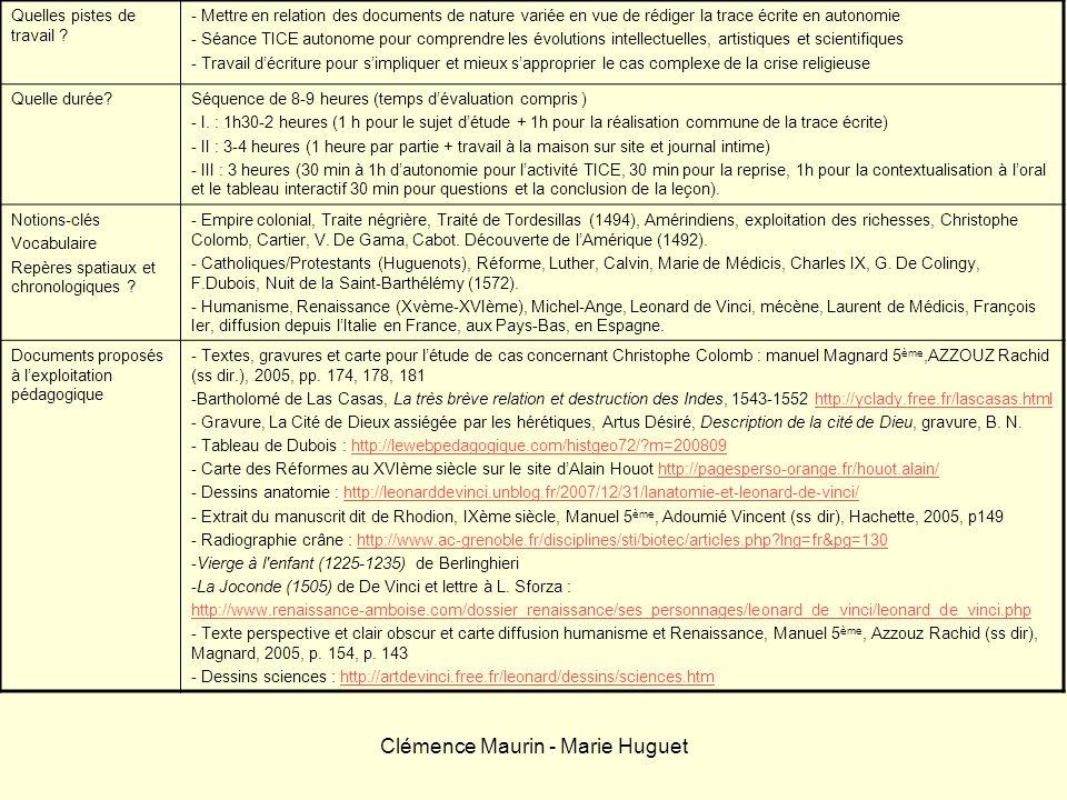 Clémence Maurin - Marie Huguet Quelles pistes de travail ? - Mettre en relation des documents de nature variée en vue de rédiger la trace écrite en au