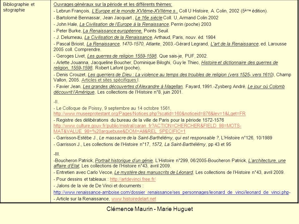Clémence Maurin - Marie Huguet Bibliographie et sitographie Ouvrages généraux sur la période et les différents thèmes: - Lebrun François, LEurope et l