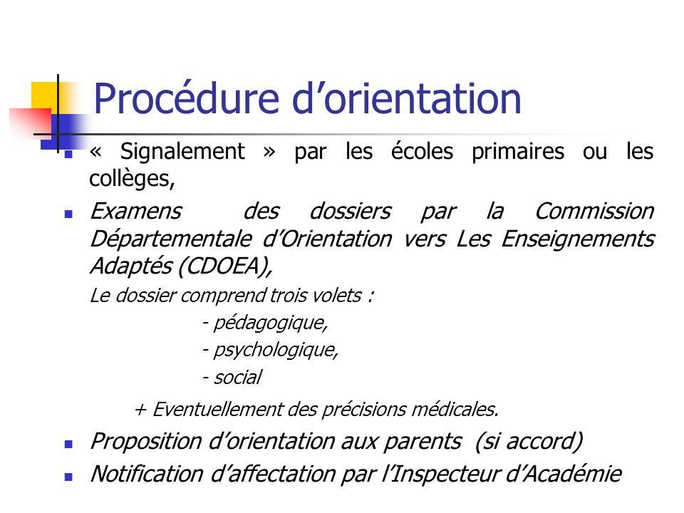 Procédure dorientation « Signalement » par les écoles primaires ou les collèges, Examens des dossiers par la Commission Départementale dOrientation ve