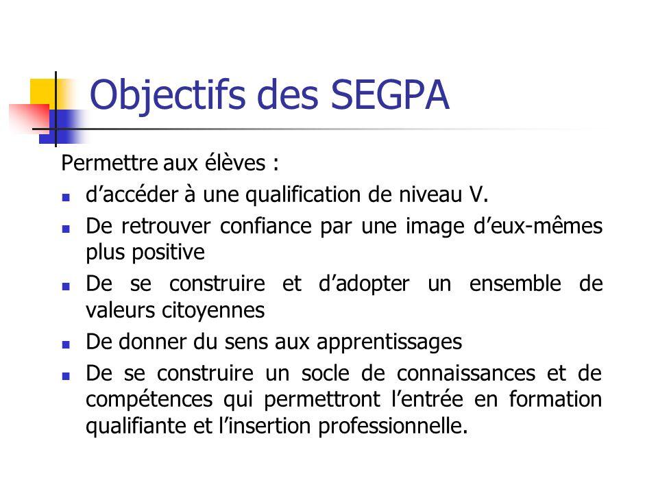 Objectifs des SEGPA Permettre aux élèves : daccéder à une qualification de niveau V. De retrouver confiance par une image deux-mêmes plus positive De