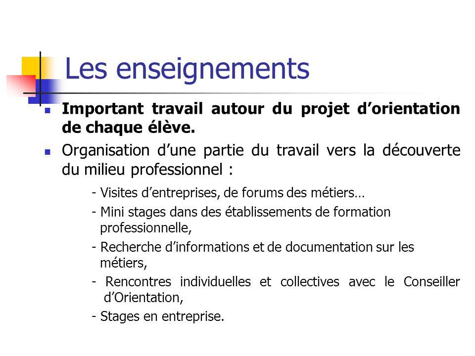 Les enseignements Important travail autour du projet dorientation de chaque élève. Organisation dune partie du travail vers la découverte du milieu pr