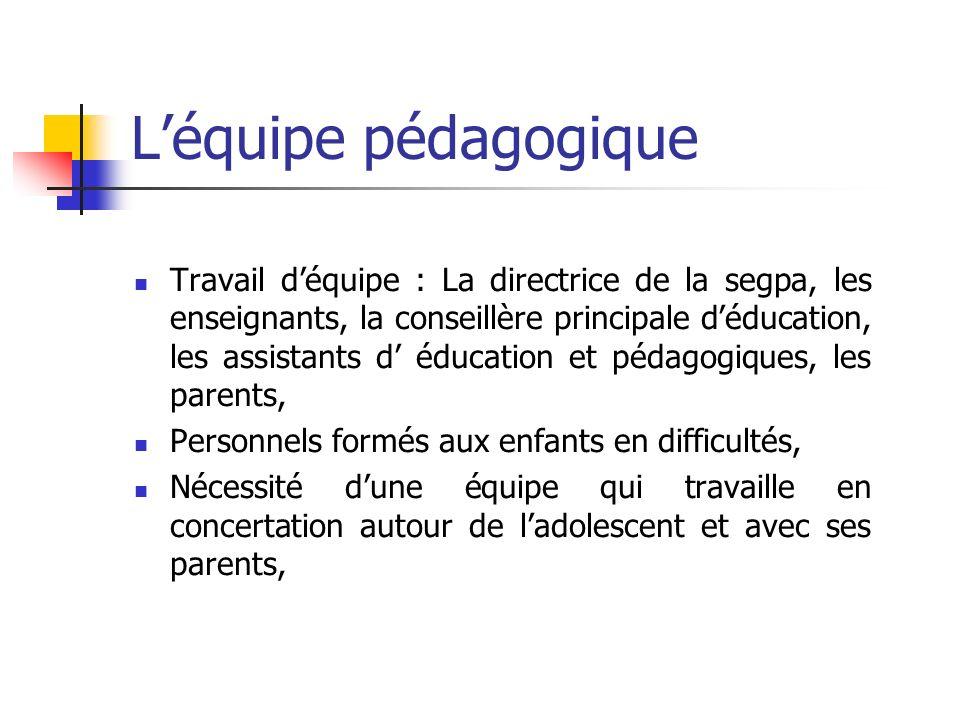 Léquipe pédagogique Travail déquipe : La directrice de la segpa, les enseignants, la conseillère principale déducation, les assistants d éducation et