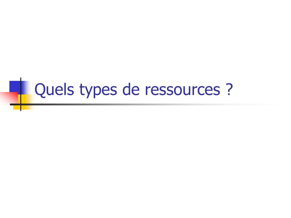 Quels types de ressources
