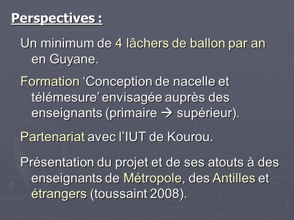 Perspectives : Un minimum de 4 lâchers de ballon par an en Guyane. Formation Conception de nacelle et télémesure envisagée auprès des enseignants (pri