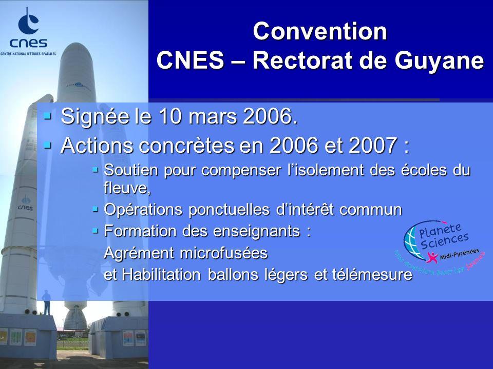 Convention CNES – Rectorat de Guyane Signée le 10 mars 2006. Signée le 10 mars 2006. Actions concrètes en 2006 et 2007 : Actions concrètes en 2006 et