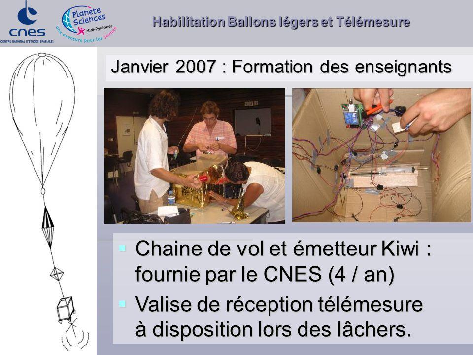 Habilitation Ballons légers et Télémesure Janvier 2007 : Formation des enseignants Chaine de vol et émetteur Kiwi : fournie par le CNES (4 / an) Chain