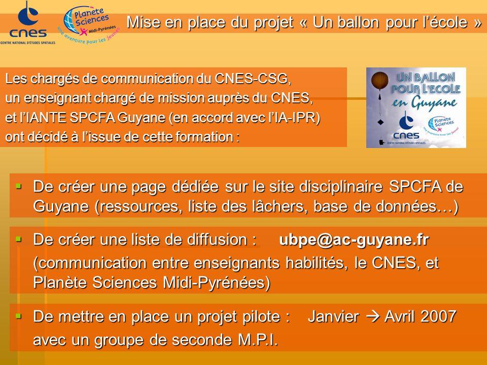 Mise en place du projet « Un ballon pour lécole » De créer une page dédiée sur le site disciplinaire SPCFA de Guyane (ressources, liste des lâchers, b