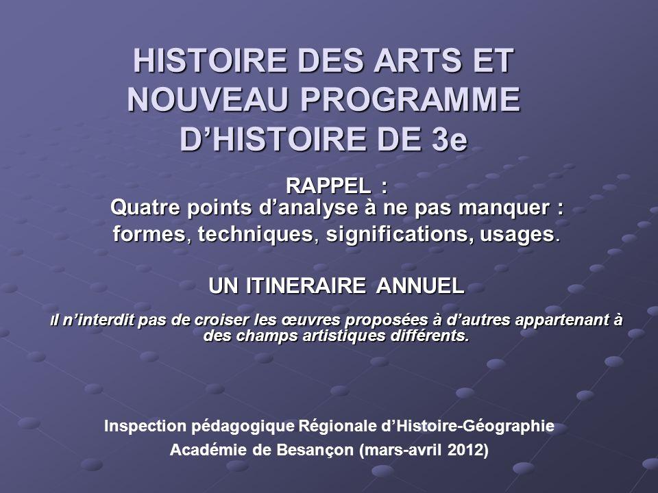 HISTOIRE DES ARTS ET NOUVEAU PROGRAMME DHISTOIRE DE 3e RAPPEL : Quatre points danalyse à ne pas manquer : formes, techniques, significations, usages.