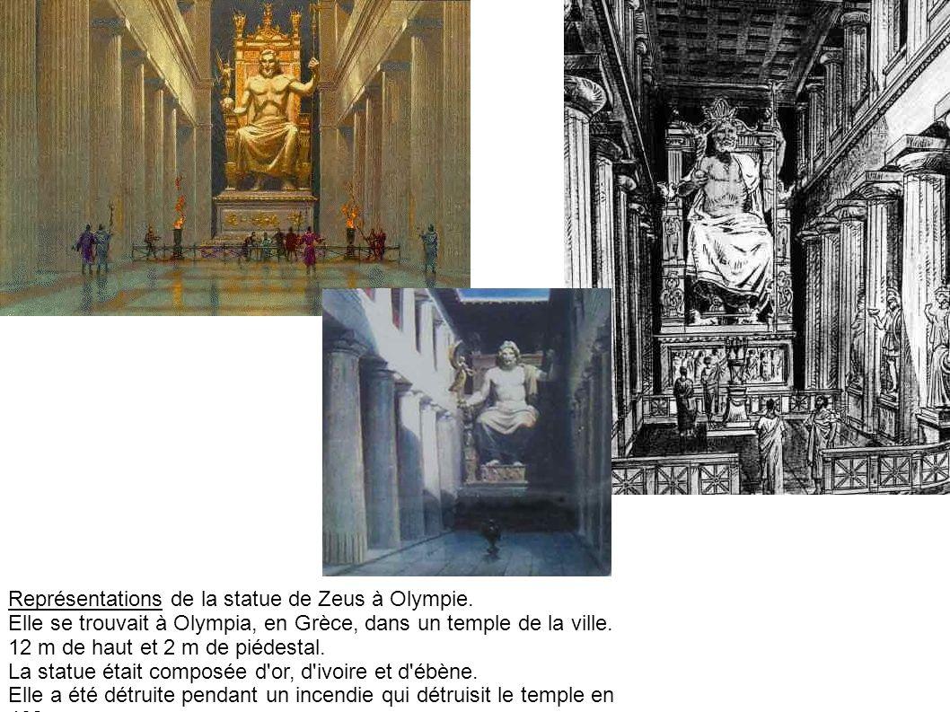 Représentations de la statue de Zeus à Olympie. Elle se trouvait à Olympia, en Grèce, dans un temple de la ville. 12 m de haut et 2 m de piédestal. La