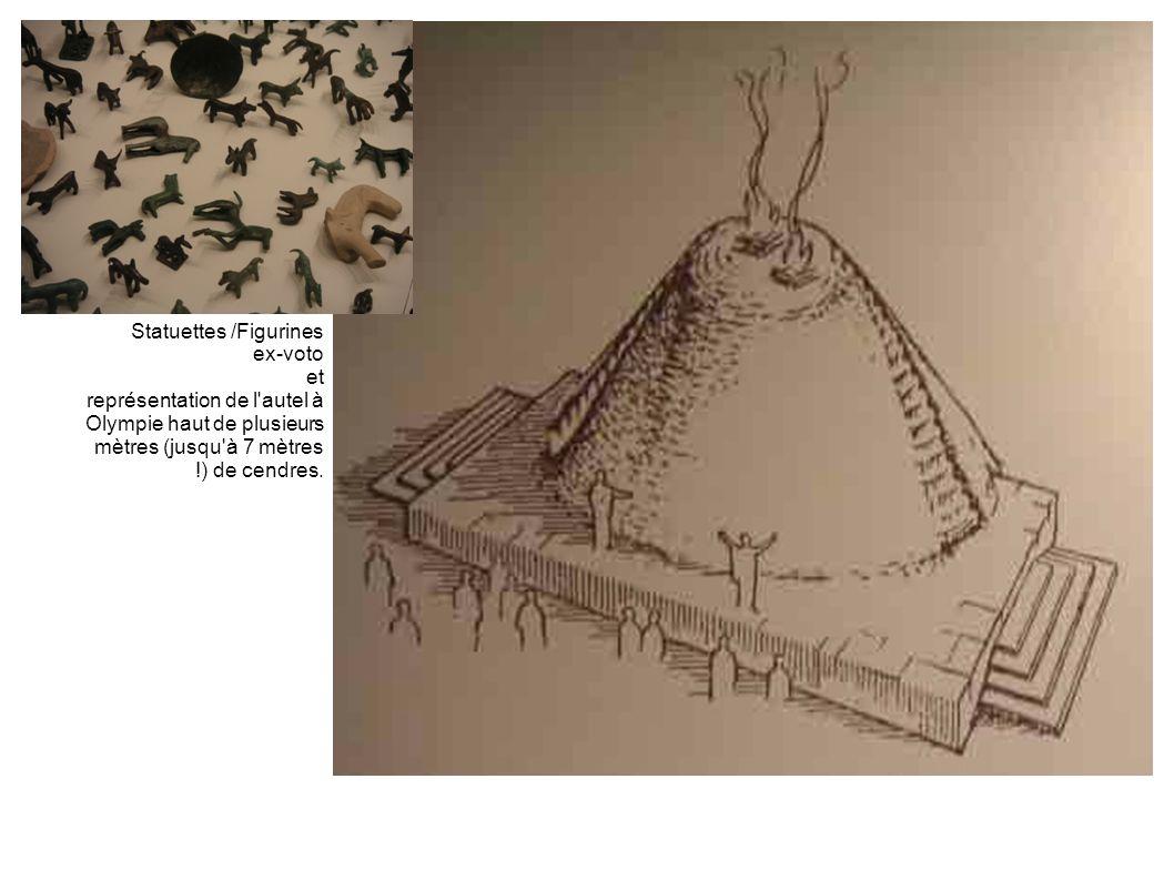 Statuettes /Figurines ex-voto et représentation de l'autel à Olympie haut de plusieurs mètres (jusqu'à 7 mètres !) de cendres.