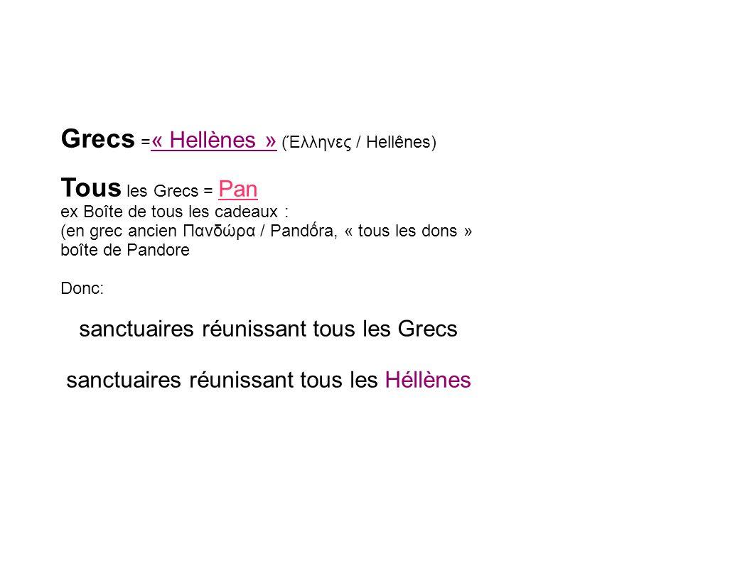 Grecs = « Hellènes » (Έλληνες / Hellênes) Tous les Grecs = Pan ex Boîte de tous les cadeaux : (en grec ancien Πανδώρα / Pandra, « tous les dons » boît