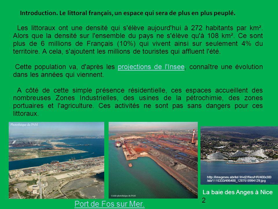Introduction. Le littoral français, un espace qui sera de plus en plus peuplé. Les littoraux ont une densité qui s'élève aujourd'hui à 272 habitants p