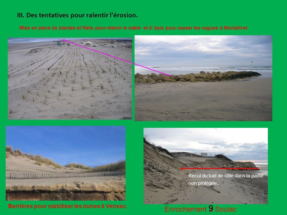 III. Des tentatives pour ralentir lérosion. Mise en place de plantes et filets pour retenir le sable et d épis pour casser les vagues à Montalivet Enr