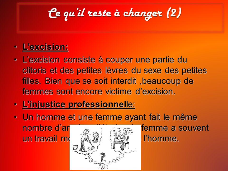 Ce quil reste à changer (2) Lexcision:Lexcision: Lexcision consiste à couper une partie du clitoris et des petites lèvres du sexe des petites filles.