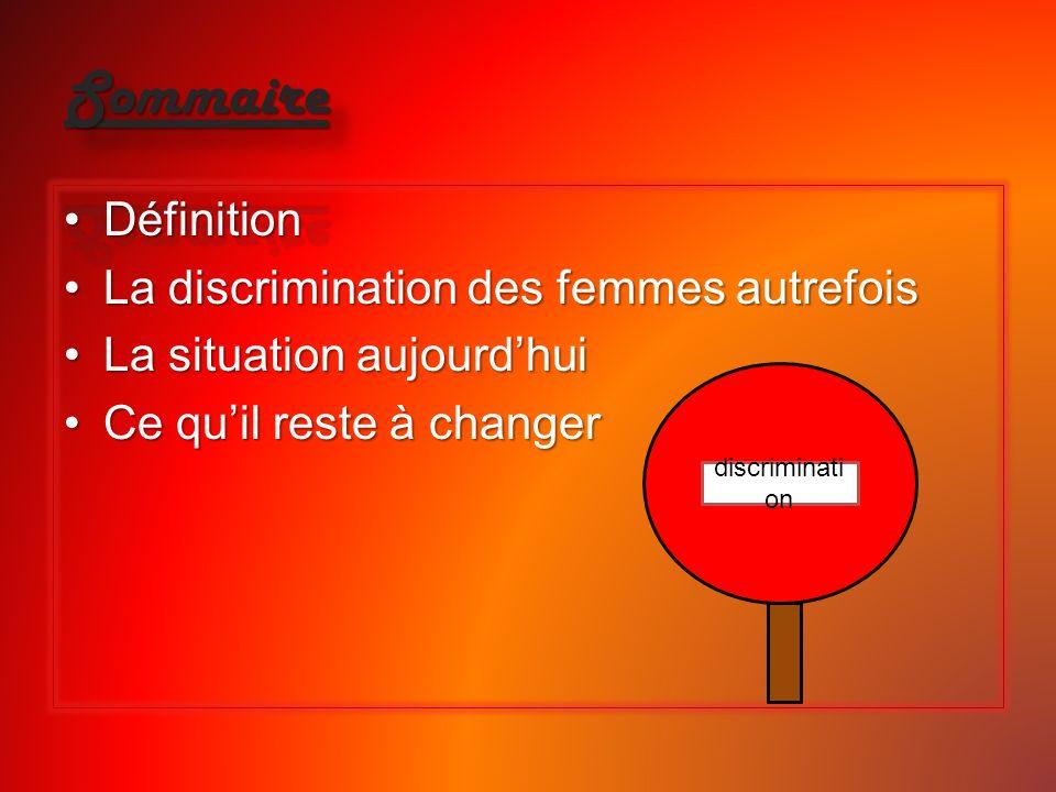 DéfinitionDéfinition La discrimination des femmes autrefoisLa discrimination des femmes autrefois La situation aujourdhuiLa situation aujourdhui Ce qu