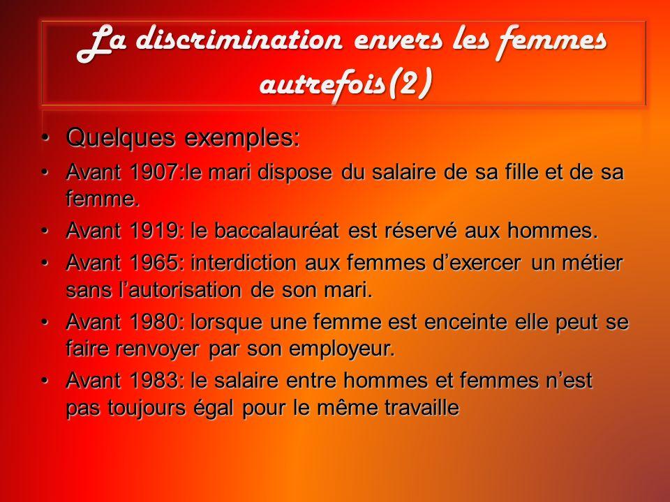 La discrimination envers les femmes autrefois(2) Quelques exemples:Quelques exemples: Avant 1907:le mari dispose du salaire de sa fille et de sa femme