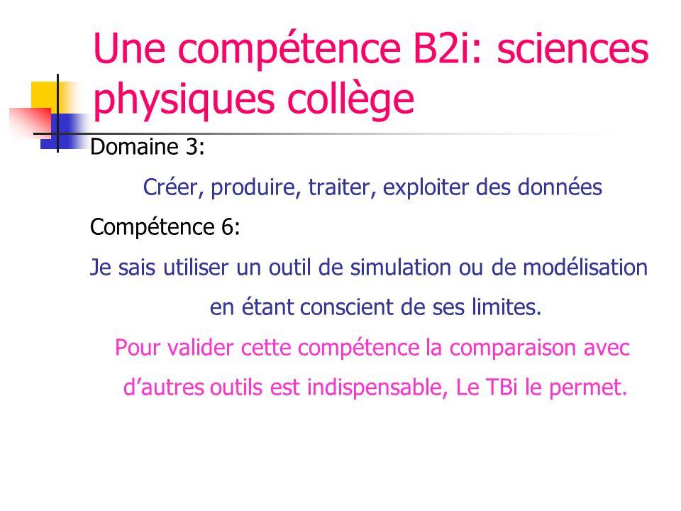 Une compétence B2i: sciences physiques collège Domaine 3: Créer, produire, traiter, exploiter des données Compétence 6: Je sais utiliser un outil de simulation ou de modélisation en étant conscient de ses limites.