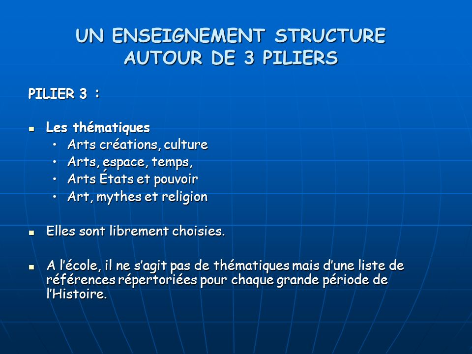 PILIER 3 : Les thématiques Les thématiques Arts créations, cultureArts créations, culture Arts, espace, temps,Arts, espace, temps, Arts États et pouvo