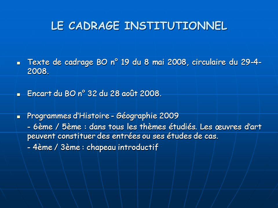 LE CADRAGE INSTITUTIONNEL Texte de cadrage BO n° 19 du 8 mai 2008, circulaire du 29-4- 2008. Texte de cadrage BO n° 19 du 8 mai 2008, circulaire du 29