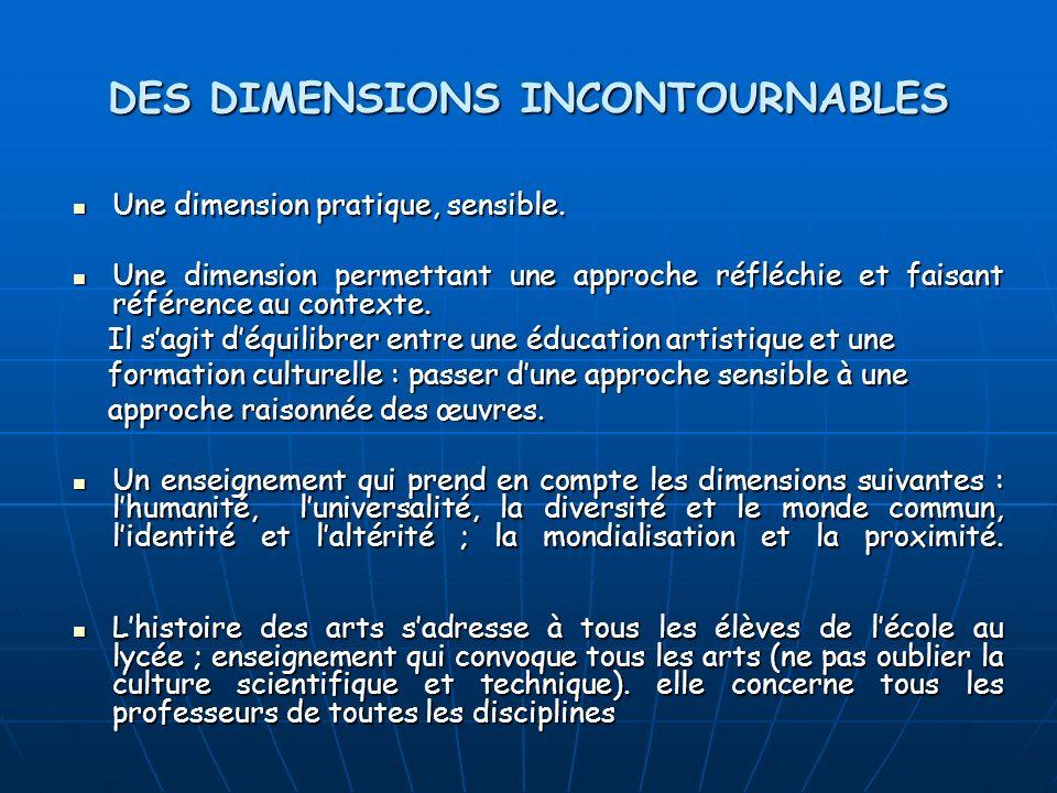 DES DIMENSIONS INCONTOURNABLES Une dimension pratique, sensible. Une dimension pratique, sensible. Une dimension permettant une approche réfléchie et