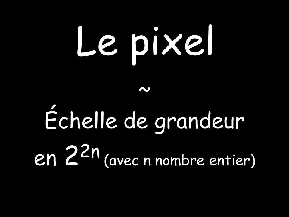 Le pixel ~ Échelle de grandeur en 2 2n (avec n nombre entier)