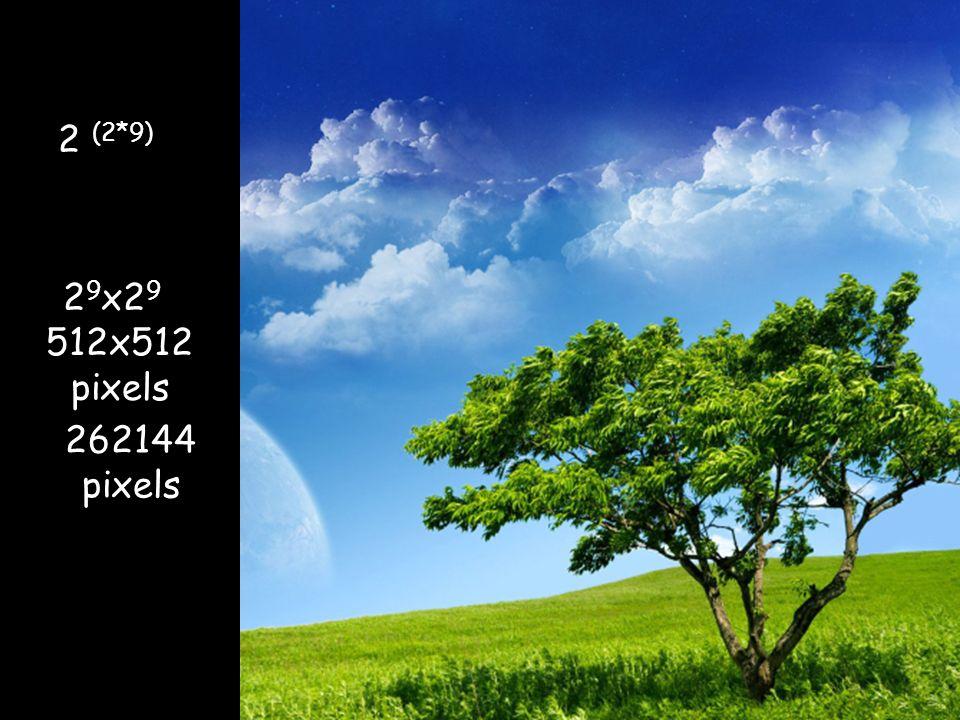 512x512 pixels 262144 pixels 2 (2*9) 2 9 x2 9