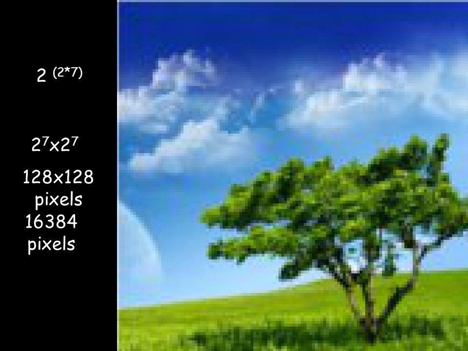 128x128 pixels 16384 pixels 2 (2*7) 2 2 7 x2 7