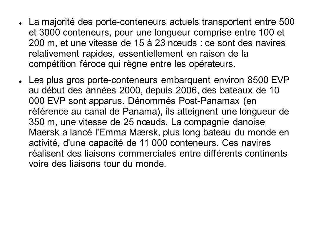 La majorité des porte-conteneurs actuels transportent entre 500 et 3000 conteneurs, pour une longueur comprise entre 100 et 200 m, et une vitesse de 1