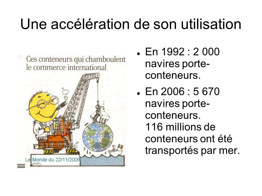 Une accélération de son utilisation En 1992 : 2 000 navires porte- conteneurs. En 2006 : 5 670 navires porte- conteneurs. 116 millions de conteneurs o