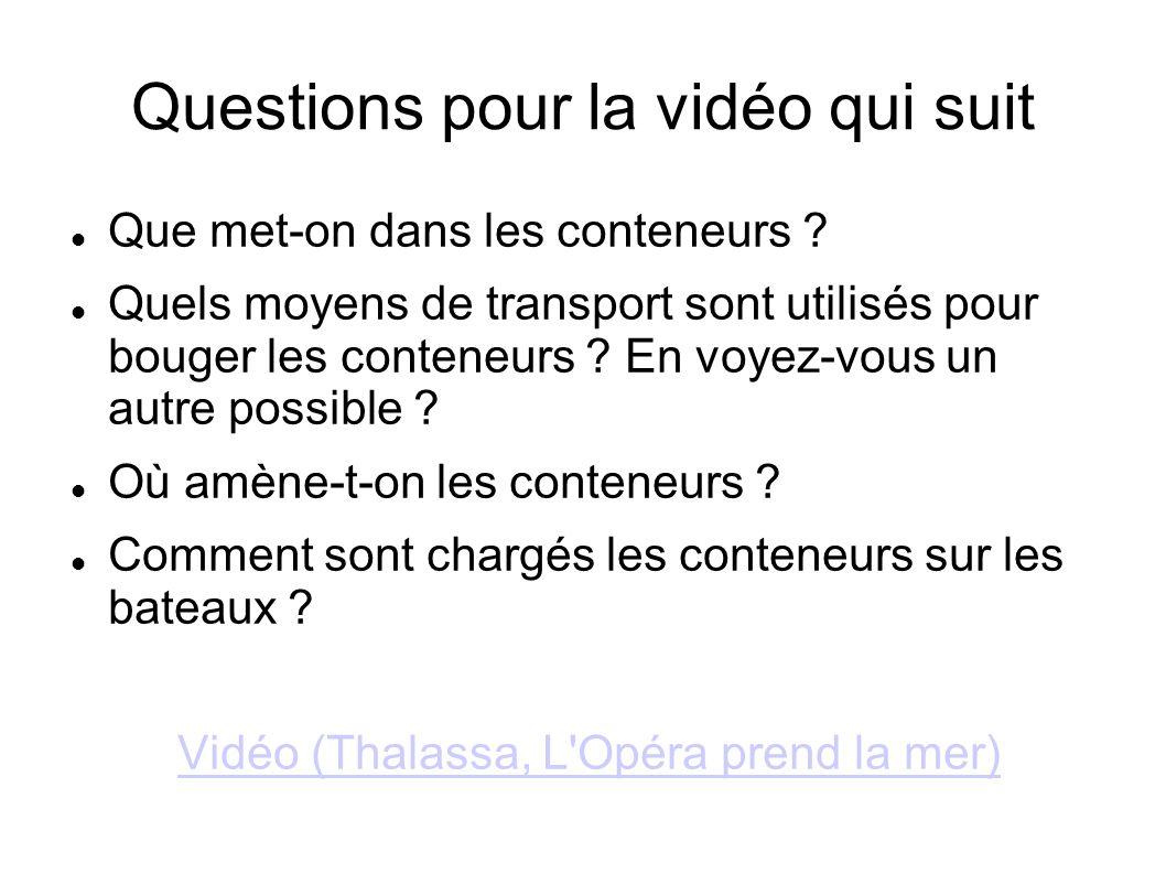 Questions pour la vidéo qui suit Que met-on dans les conteneurs ? Quels moyens de transport sont utilisés pour bouger les conteneurs ? En voyez-vous u