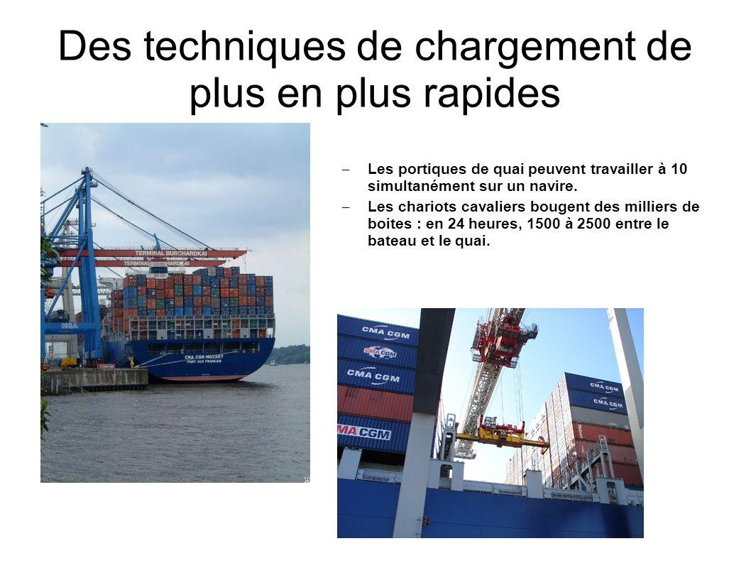 Des techniques de chargement de plus en plus rapides – Les portiques de quai peuvent travailler à 10 simultanément sur un navire. – Les chariots caval