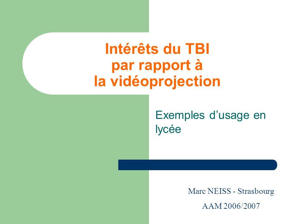 Intérêts du TBI par rapport à la vidéoprojection Exemples dusage en lycée Marc NEISS - Strasbourg AAM 2006/2007