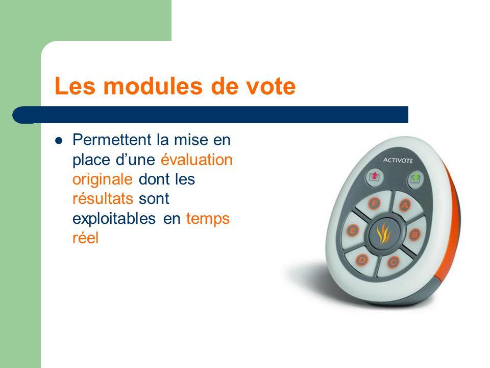 Les modules de vote Permettent la mise en place dune évaluation originale dont les résultats sont exploitables en temps réel
