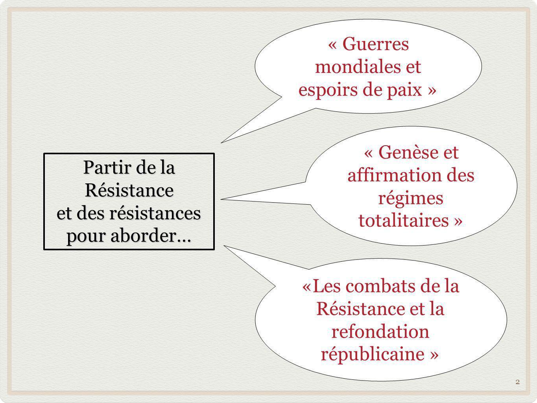 2 Partir de la Résistance et des résistances pour aborder… « Guerres mondiales et espoirs de paix » « Genèse et affirmation des régimes totalitaires »