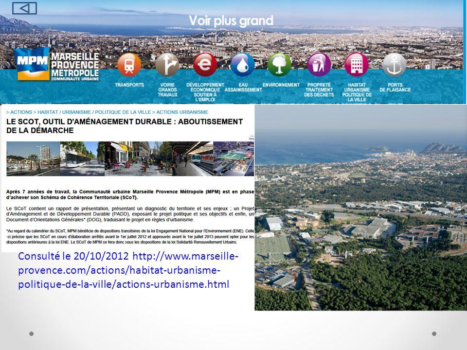 Consulté le 20/10/2012 http://www.marseille- provence.com/actions/habitat-urbanisme- politique-de-la-ville/actions-urbanisme.html
