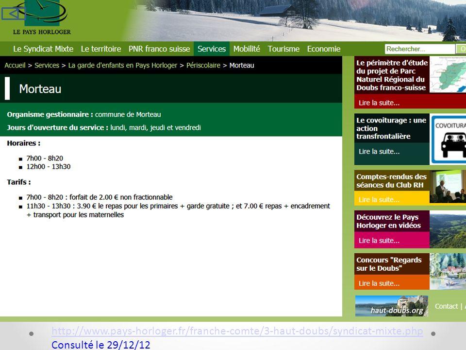 http://www.pays-horloger.fr/franche-comte/3-haut-doubs/syndicat-mixte.php Consulté le 29/12/12