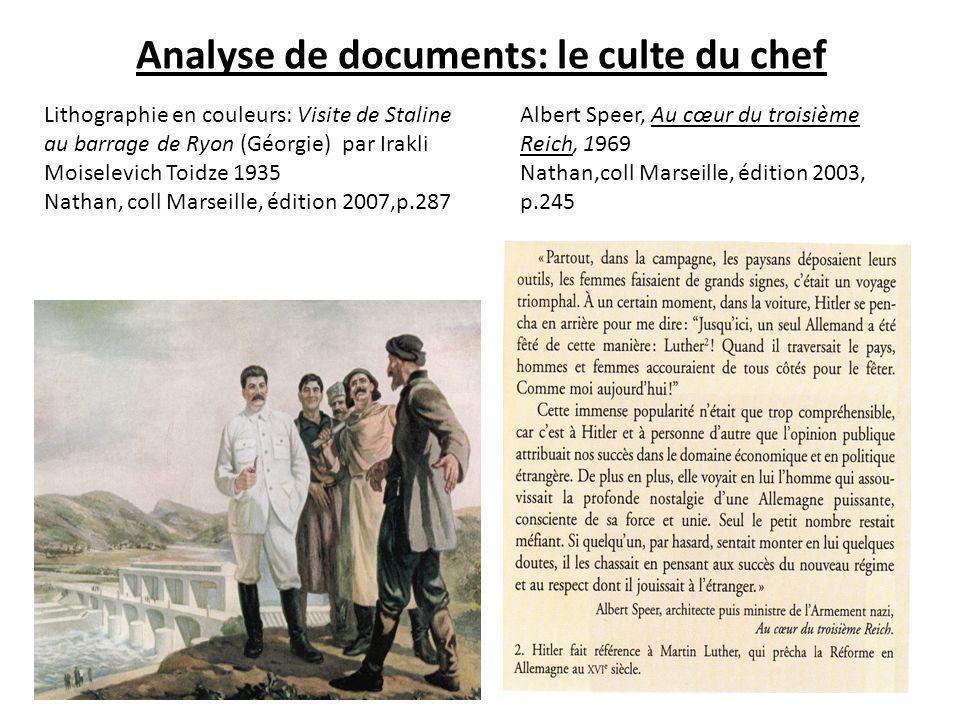 Analyse de documents: le culte du chef Lithographie en couleurs: Visite de Staline au barrage de Ryon (Géorgie) par Irakli Moiselevich Toidze 1935 Nat