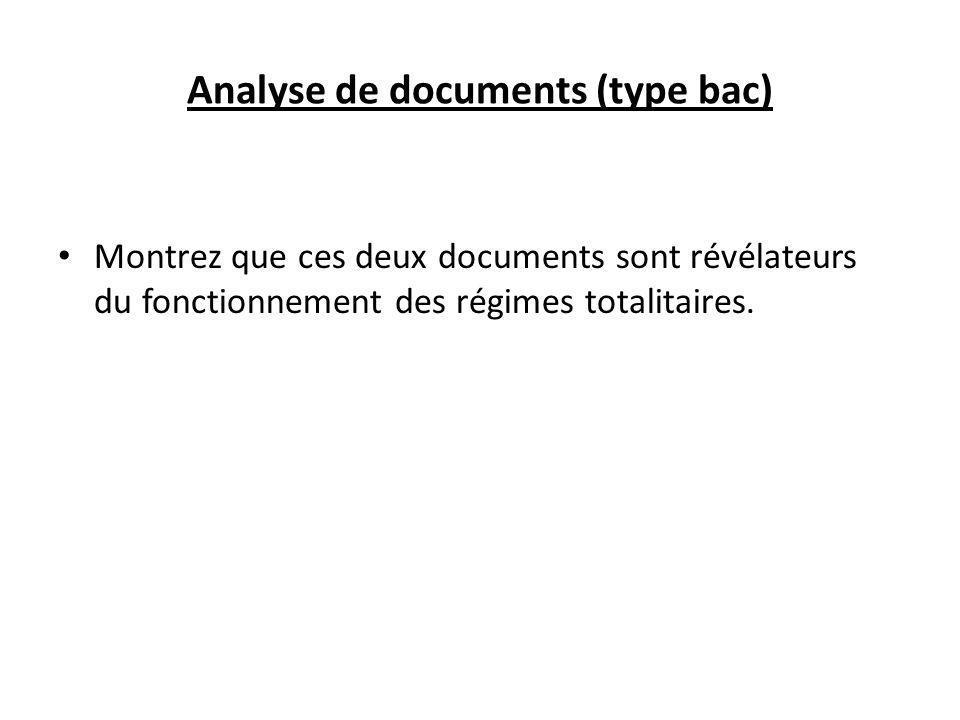 Analyse de documents (type bac) Montrez que ces deux documents sont révélateurs du fonctionnement des régimes totalitaires.