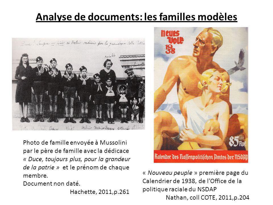 Analyse de documents: les familles modèles « Nouveau peuple » première page du Calendrier de 1938, de lOffice de la politique raciale du NSDAP Nathan,