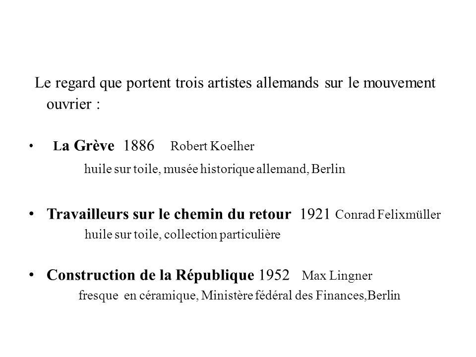 Le regard que portent trois artistes allemands sur le mouvement ouvrier : L a Grève 1886 Robert Koelher huile sur toile, musée historique allemand, Be