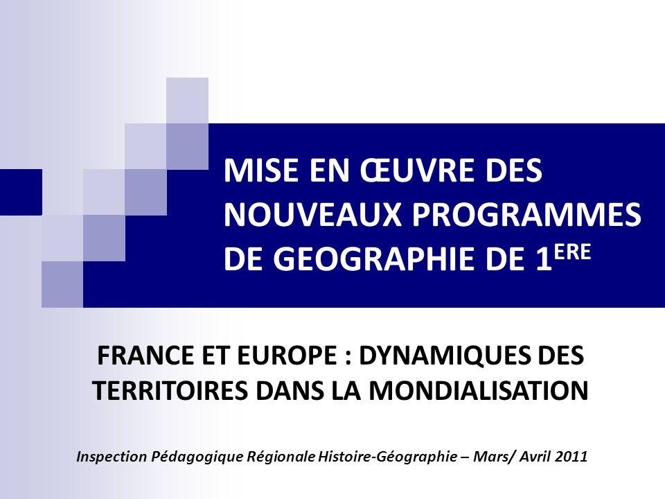 Programme qui intègre les grandes orientations de la Géographie de ces dernières années : le territoire, la mondialisation, le développement durable.