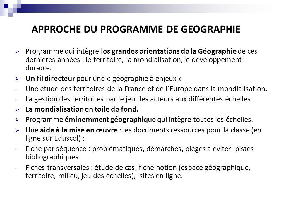 DEMARCHES Une place substantielle aux études de cas - 6 entrées sur 10 dont deux obligatoires (la région dimplantation du lycée et Roissy).