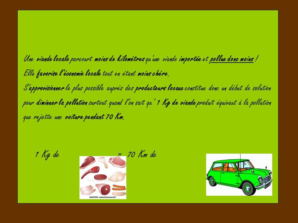 Une viande locale parcourt moins de kilomètres qu'une viande importée et pollue donc moins ! Elle favorise l'économie locale tout en étant moins chère