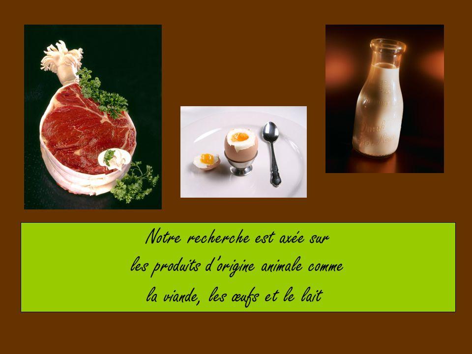 Notre recherche est axée sur les produits dorigine animale comme la viande, les œufs et le lait