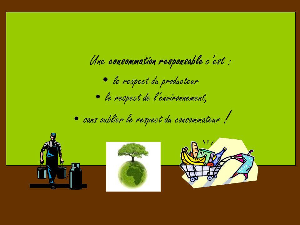 Une consommation responsable cest : le respect du producteur le respect de lenvironnement, sans oublier le respect du consommateur !